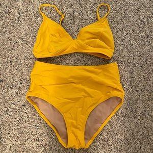 Yellow high waisted bikini!